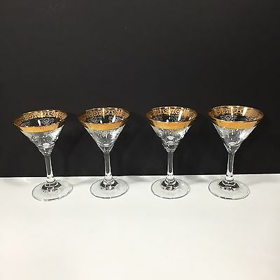 Set of 4 Antique Etched Gilt Rim Champagne Martini Glasses Stemware 5.75 Vintage