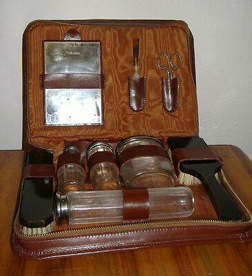 Set Da Toilette Beauty Case Per Uomo Da Viaggio Rasoio Barba Vintage Kit