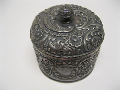 Victorian Silver Plate Repousse Dresser Jar W/Lid By Wilcox