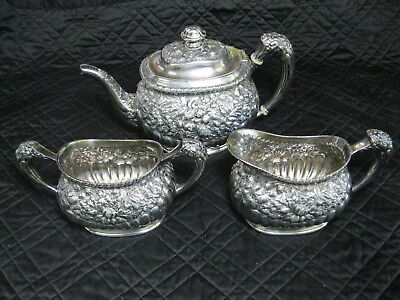 Victorian Repousse 3 Piece Tea/Coffee Set By Simpson Hall Miller
