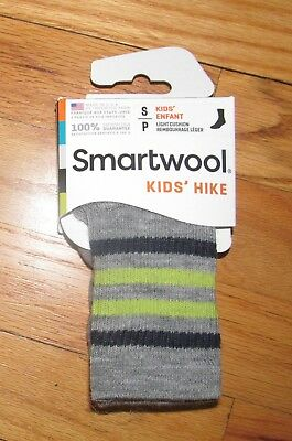 Smartwool Kids Boys Girls Gray Stripe Hike L Crew Socks S NWT