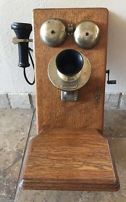 Antique Vintage Western Electric Company 350W Oak Wall Phone Patent June 1913