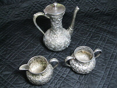 Victorian Repousse 3 Piece Child's Size Tea Set By Barbour Bros