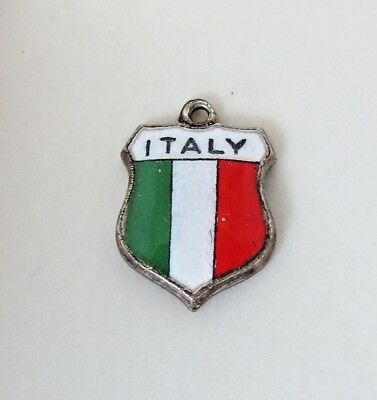 ITALY ITALIAN FLAG Vintage Sterling Enamel Travel Shield Charm RARE