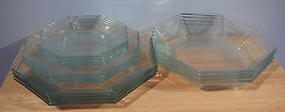 15 piece Vtg Arcoroc Octime Clear Glass Dinnerware Plates Bowls