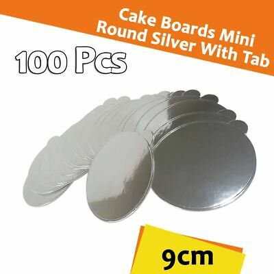 Cake Board Mini Round Silver With Tab 100/Pc 9 Cm Cupcake Boxes Cake Boxes