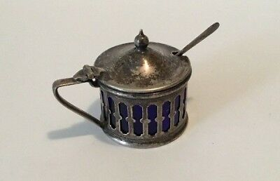 Vintage EPNS Silver Plated Mustard/Salt Pot - Pierced Design