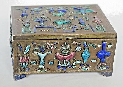 "Antique Chinese Metal Box with Enamel Multi Colored Decorations 4.5"" Long"