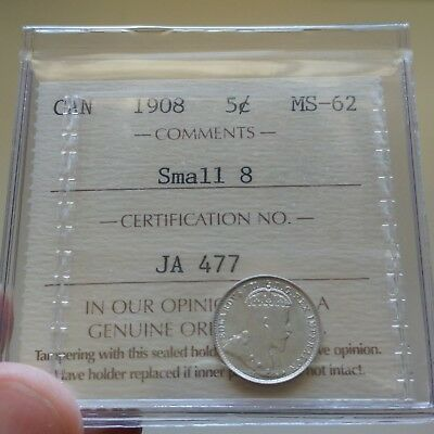 1908 Canada Silver 5 Cents Coin - ICCS MS-62 Small 8 - Old ICCS 2 Letter $200 BV