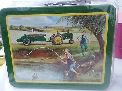 """JOHN DEERE- Licensed """"Turtle Trouble"""" Lunch Box Tin Made in 2002-New Never Used."""