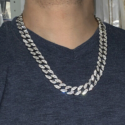 """Mens Cuban Chain Silver Tone Iced Out Bling 24"""" Inch 15MM Wide Hip Hop Necklace"""