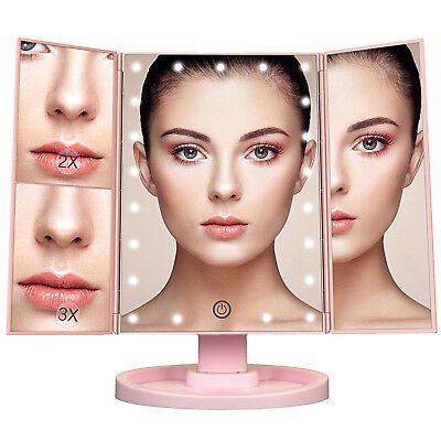 Tri-Fold 22 LED Lighted Touch Screen Tabletop Vanity Makeup Mirror White Pink