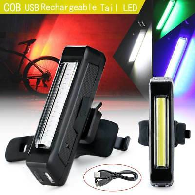 Waterproof COB LED Night Bicycle Cycling Front Rear Tail Light USB Rechargeable