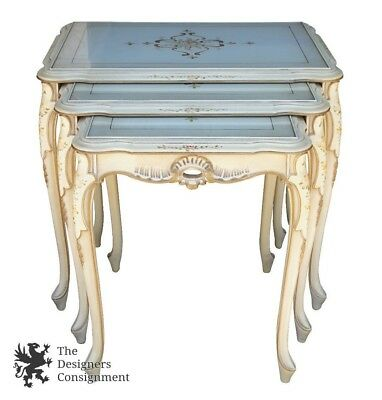3 Pc Italian French Provincial Nesting Accent Tables Floral Hand Painted + Glass