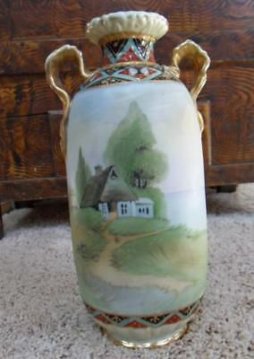 "Nippon Morimura Hand Painted Scenic Landscape 11-1/4"" Vase  Green Wreath Mark"