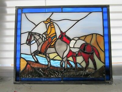 Man w/ HORSES Unique Vintage Leaded Stained Glass Window ART