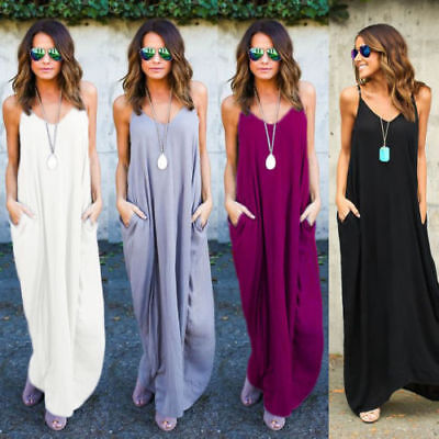 8e65d558d Women s Summer Boho Casual Long Sundress Maxi Evening Party Cocktail Beach  Dress