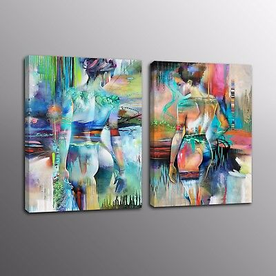Abstract Modern HD Canvas Prints Human Body Art Oil Painting Art Picture 2pcs