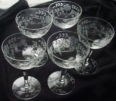 Set 5 ~ Etched Optic Floral Leaf ~ Paneled Stemware ~ Crystal Champagne Glasses