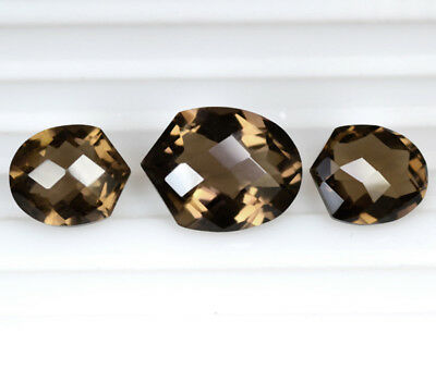 Natural Smoky Quartz Checkered Cut Fancy Set For Earrings Pendant 15.30 Cts Gems