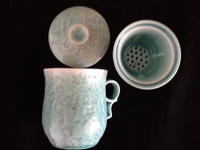 Chinese Porcelain Tea Cup Handled Infuser Strainer w Lid 10 oz Green Marble Styl