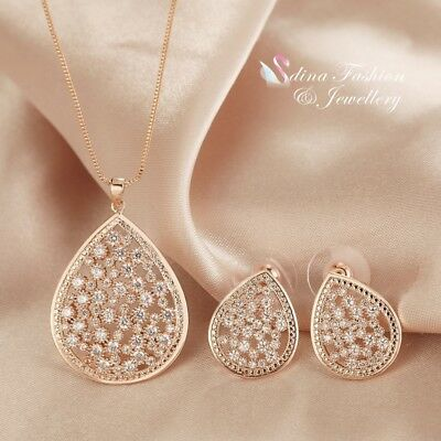18K Rose Gold Filled Full Diamond Studded Hollow Out Sparkling Teardrop Set