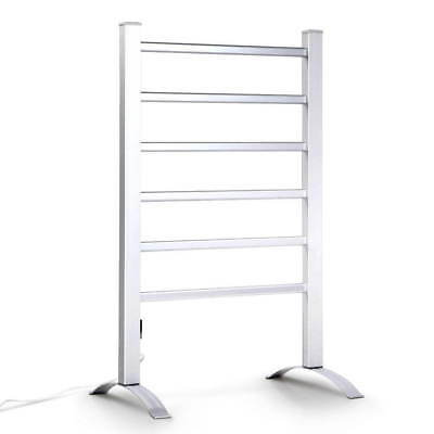 Electric Heated Towel Rail 6 Rung Free Standing Clothes Drying Accessories