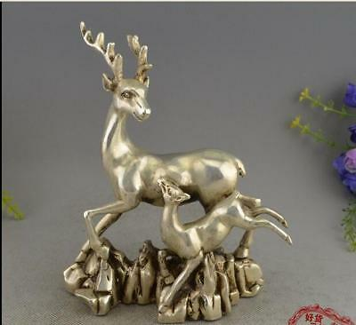 Fine Chinese Bronze Copper Silvering Deer