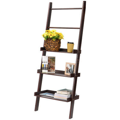 3-Tier Bookshelf Ladder Storage Organizer Heritage Black Shelving Unit