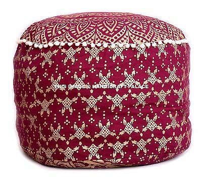 Ombre Mandala Ottoman Round Indian Poof Pouffe Foot Stool Floor Pillow Cover