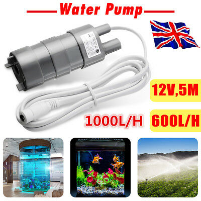 UK 600/1000L/H 12V Brushless Magnetic Submersible Water Pump 5M Garden Pond Boat