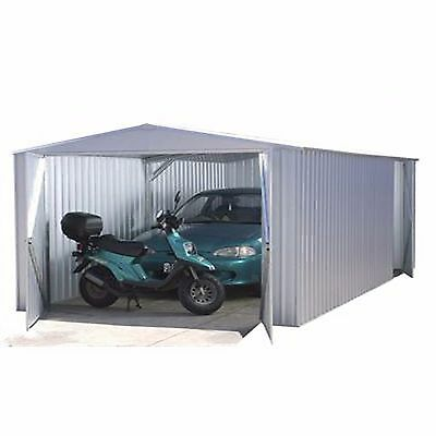 10x20 Absco Metal Garage Storage Shed Grey Titanium Double Door Apex 10ft 20ft