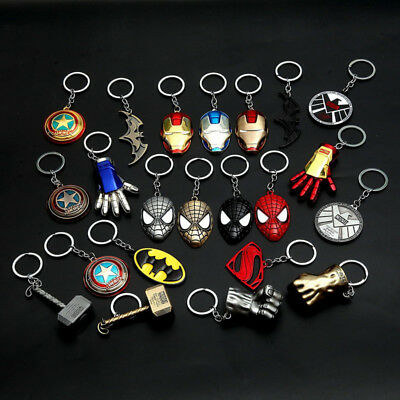 Superhero Avengers Key Chain Kids Man Spider-man Superman X-man Batman Key Ring