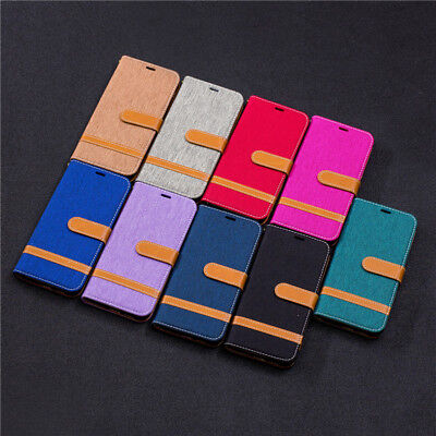 Dual Color Denim Pockets PU Leather Flip Case Cover Stand For 2018 Cell Phones