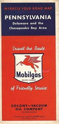1952 SOCONY-VACUUM OIL MOBILGAS Road Map PENNSYLVANIA Delaware Chesapeake Bay
