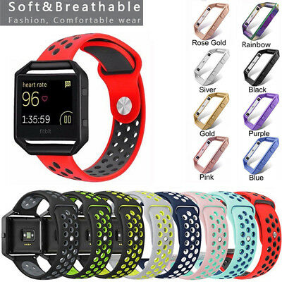 Replacement Silicone Wrist Band Watch Strap +Metal Frame For Fitbit Blaze Sports