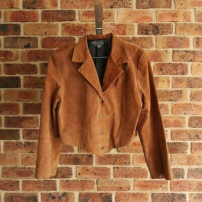 VINETTI Rare Vintage Retro Real Suede Leather Jacket Tan Winter Womens Size L