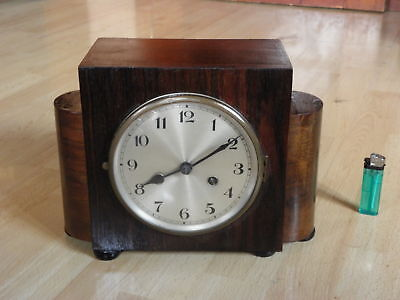 table Clock Mantel art deco SKYSCRAPER wood CHIMING HORLOGE antique wooden era