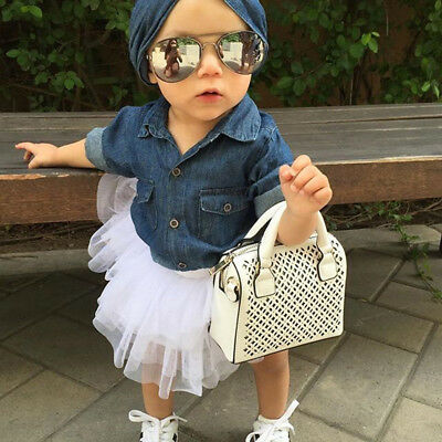 Baby Toddler Girls Denim Shirt Tops + Tulle Tutu Skirt + Headband Outfits Set