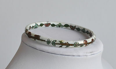 Antique Chinese Enamel Cloisonne Bangle Bracelet White With Red & Green Flowers