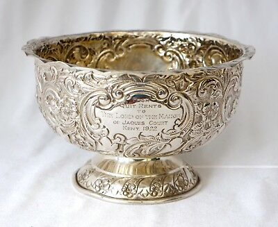 1904 Sterling Silver English Country House Trophy Bowl. Lord of the Manor, Kent