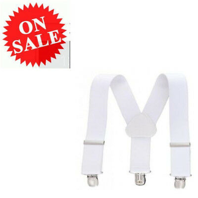 Adjustable Elastic Belt Fully New White Solid Color Suspenders For Kids and Baby