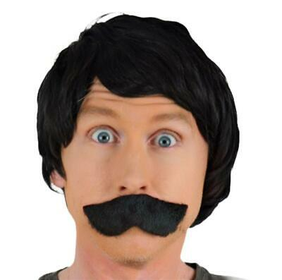 """ MR BLEACH"" BLONDE CURLY MEN'S FANCY DRESS WIG & BLACK DROOP MOUSTACHE. UK DISp"