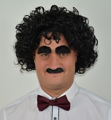 Men's Curly/Wavy Black Fancy Dress Wig With Moustache & Eyebrow Set. Uk Disp