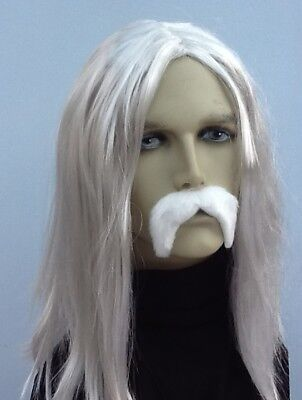 Men's Long Grey Straight Fancy Dress Wig & White Thick Droop  Moustache.