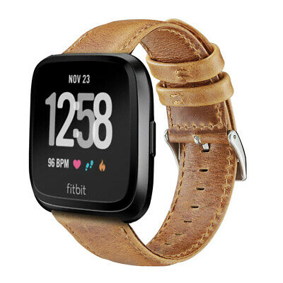 Retro Genuine Leather Strap Belt band WristBand For Fitbit Versa / 2 Smart Watch