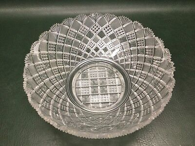 Antique American Brilliant Heavy Cut Crystal Bowl Diamonds Pattern