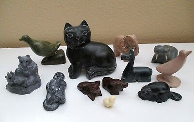 Mixed LOT OF 12 CARVED SOAPSTONE WILD ANIMAL FIGURINES Various Sizes Vintage