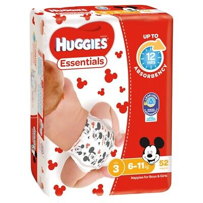 Huggies Essential Nappies - Crawler - Size 3 - 52 Pack
