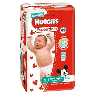 Huggies Essentials Nappies - Newborn - Size 1 - 28 Pack